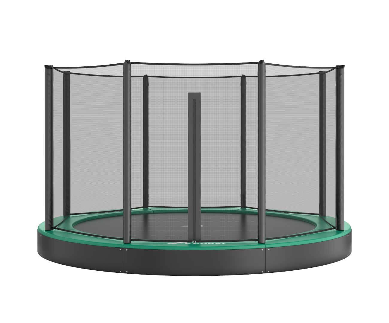 Akrobat Orbit Flat trampoline Grey safety pad/Black jumping mat